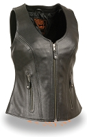 Ladies Black Leather Open Neck Zipper Front Motorcycle Vest