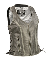 Ladies Distressed Gray Open Neck Leather Vest w Side Lace