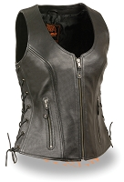Ladies Black Open Neck Leather Vest w Side Lace