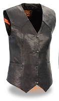 Ladies Black Naked Goatskin Leather Biker Vest, Light Weight
