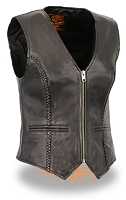 Ladies Black Naked Goatskin Leather Biker Vest, Light Weight, Braided Seams, Zipper