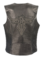 Ladies Black Naked Leather Snap Front Vest w Hot Pink Phoenix, Studding