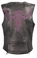 Ladies Black Naked Leather Snap Front Vest w Purple Phoenix, Studding