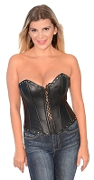 Ladies Black Lambskin Leather Open Front Studded Corset