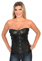 Ladies Black Lambskin Leather Side Laced Corset