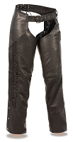 Ladies Black Naked Leather Low Rise Chaps w Black Crinkled Leg Striping