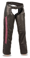 Ladies Black Naked Leather Low Rise Chaps w Hot Pink Crinkled Leg Striping
