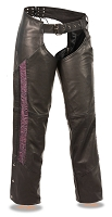 Ladies Black Naked Leather Low Rise Chaps w Purple Crinkled Leg Striping