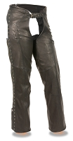 Ladies Black Lightweight Leather Chaps w Lace and Grommet Details