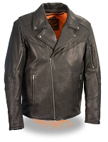 Mens Black Naked Goatskin Leather Beltless Biker Jacket Triple Stitch