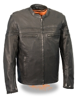 Mens Black Goatskin Naked Leather Sporty Crossover Jacket