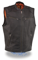 Mens Zipper Front Naked Leather Biker Vest w Cool Tec® Treatment