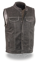Mens Distressed Grey Leather SOA Style Biker Motorcycle Vest, Club Style