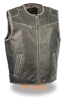 Mens Distressed Grey Leather Zipper Front Biker Vest, Collarless