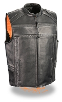 Mens Black Naked Leather Reflective Band and Piping Zipper Front Vest