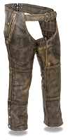 Mens Distressed Brown Leather Chaps, 4 Pocket, Zipout Thermal Liner