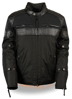 Mens Black Vented Nylon Textile Scooter Jacket w Leather Trim