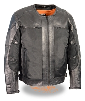 Mens Black Leather & Mesh Racer Jacket w/ Removable Rain Jacket Liner