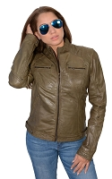 Ladies Olive Green Lambskin Leather Racing Jacket w Rivets