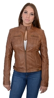 Ladies Whiskey Brown Lambskin Leather Racing Jacket w Rivets