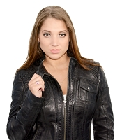 Ladies Black Lambskin Leather Scuba Collar Jacket