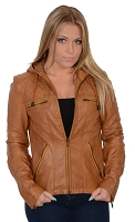 Ladies Cognac Brown Lambskin Leather Scuba Collar Jacket w Hood