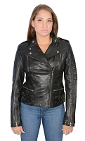 Ladies Black Lambskin Leather MC Collar Jacket w Side Buckles