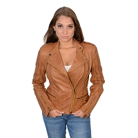 Ladies Whiskey Brown Lambskin Leather MC Collar Jacket w Side Buckles