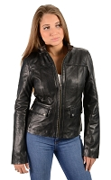 Ladies Brown Lambskin Leather Jacket w Snap Collar, Snap Pockets