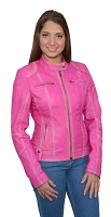 Ladies Pink Sheepskin Leather Motorcycle Jacket Scuba Style