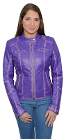 Ladies Purple Sheepskin Leather Motorcycle Style Jacket Classic Collar, Studding