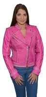 Ladies Pink Sheepskin Leather Motorcycle Style Jacket Classic Collar, Studding