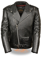 Mens Black Classic Leather Motorcycle Jacket w Side Lace and Vents