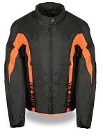 Womens Black Nylon Textile Scooter Jacket w Orange Stripes