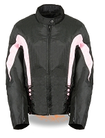 Womens Black Nylon Textile Scooter Jacket w Pink Stripes