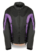 Womens Black Nylon Textile Scooter Jacket w Purple Stripes