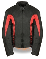 Womens Black Nylon Textile Scooter Jacket w Red Stripes