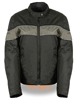Womens Black Lightweight Nylon Vented Riding Jacket w Grey Stripe