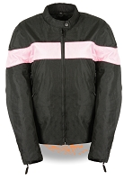 Womens Black Lightweight Nylon Vented Riding Jacket w Pink Stripe