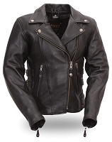 Womens Black Boulevard Motorcycle Biker Jacket Snap-Out Liner