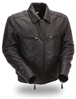 Mens Black Leather Bronson Hybrid Jacket Snap-out Liner