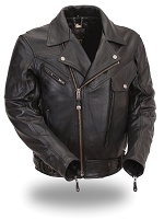 Mens Black Leather Classic Jacket Snapout Liner 6 Pocket with Armor