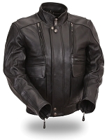 Mens Black Leather Coburn Biker Motorcycle Jacket with Snap Out Liner
