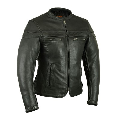 Womens Black Naked Leather Sporty Scooter Jacket, Zipout Liner
