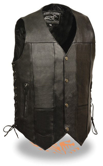 Mens Solid Leather 10 Pocket Vest with Side Lace