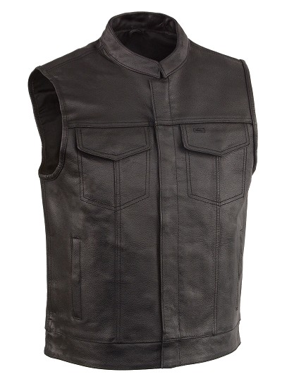 Mens SOA Black Leather Biker Vest, Hidden Zipper Front, Dual Concealed Weapon Pockets