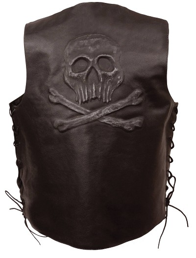 Mens Brown Solid Leather Vest w Embossed Skull & Crossbones