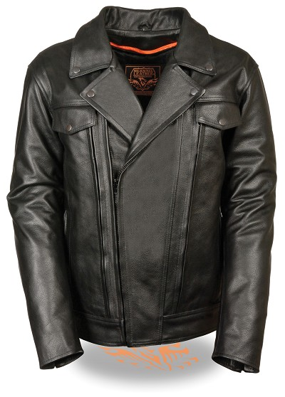Mens Black Leather Vented Motorcycle Jacket, Utility Pockets