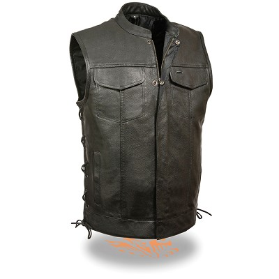 Mens Black SOA Style Leather Vest w Hidden Snaps, Zipper and Side Laces
