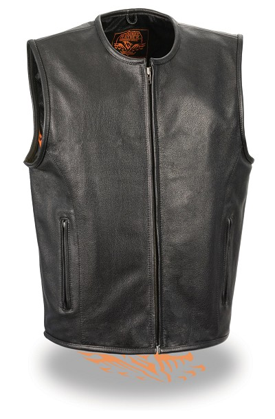 Mens Black Leather Biker Vest Zipper Front, Collarless, Seamless Back, Gun Pockets